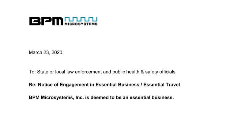 Notice of Engagement in Essential Business